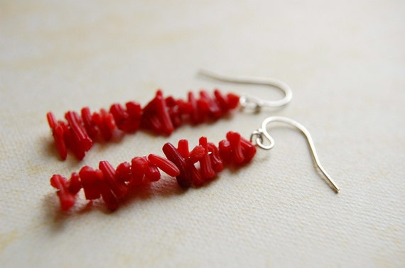 Coral stick earrings. Red Coral Branch earrings.
