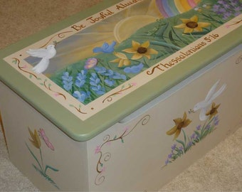 Childrens wooden toy box - Nature filled - Bible verse - Be joyful always