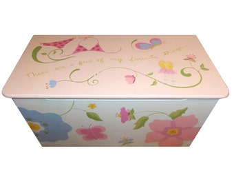Childrens wooden toy box - Fabulous flowers and silly swirls