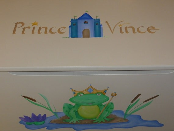 Childrens wooden toy box - Frog prince waits patiently for his princess