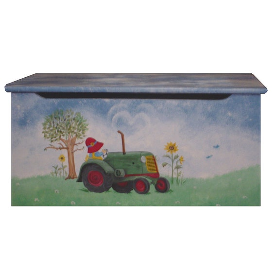 Childrens wooden toy box - The sweet little farmer
