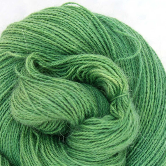 Hand Dyed Angora Silk Laceweight Yarn 435yds 50g Leaf