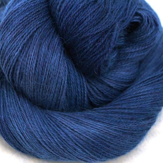 Hand Dyed Angora Silk Laceweight Yarn 435yds 50g Moonless