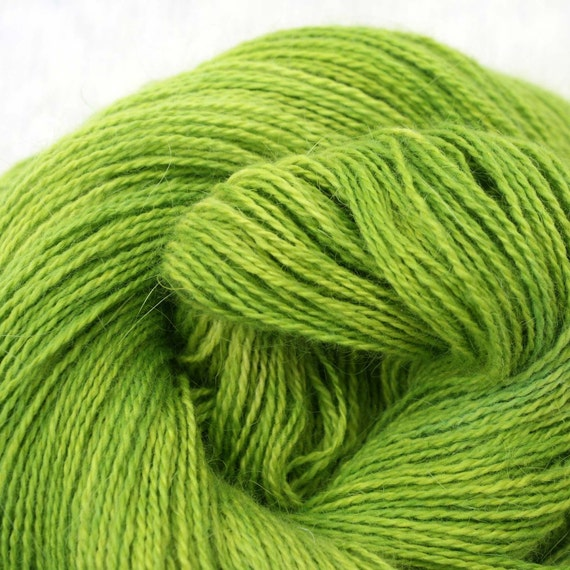 Hand Dyed Angora Silk Laceweight Yarn 435yds 50g Bottle