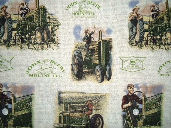 Vintage John Deere print curtain set.  Free shipping