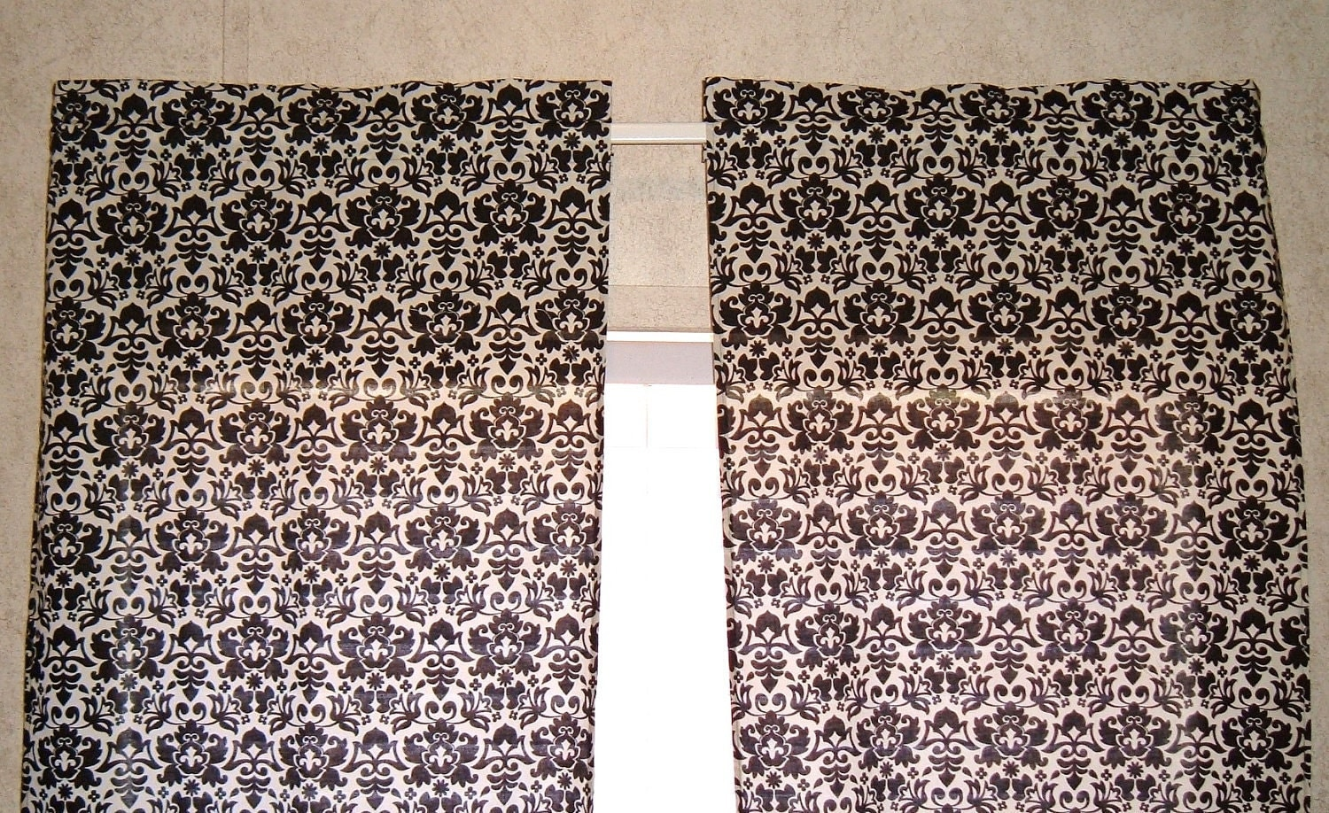 black and off white damask curtain panels by