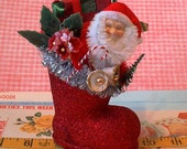 Glittered Santa Claus Boot Decoration / Filled With Little Christmas Treasures