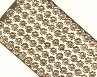 Die Cut Dresden Trim Border / Gold Foil / Flower Motif / 8 Strips / Vintage Paper Lace / Christmas Ornaments / DIY