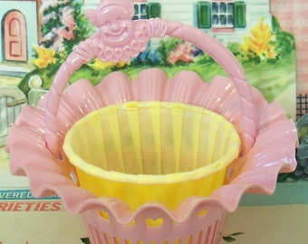 Vintage / Party Favors / Plastic Nut Cup Baskets / Set of Three / Pink with Clown Motif Handles