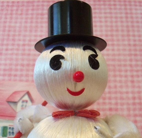Vintage / Snowman / Satin Balls / Decoration / Bumpy Chenille Arms