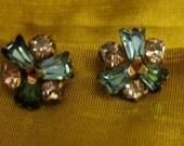 Gorgeous petite faux diamond and blue topaz screw back earrings