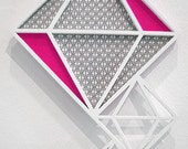 RESERV ED: Dripping Diamonds - Neon Pink - Wall Hanging