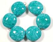 SCOTTYBEADS LAMPWORK  BEADS - Dark Turquoise Mosaic Lentil Beads (6) - FREE US SHIPPING
