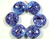 SCOTTYBEADS LAMPWORK  BEADS - Easter Egg Lentil Beads (6) - FREE US SHIPPING