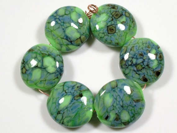 SCOTTYBEADS LAMPWORK  BEADS - Green Earth Lentil Beads (6) - FREE US SHIPPING