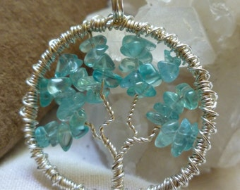 Tree of Life Pendant - Apatite with Sterling Silver Wire