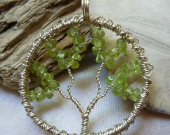 Tree of Life Pendant - Peridot with Sterling Silver Wire