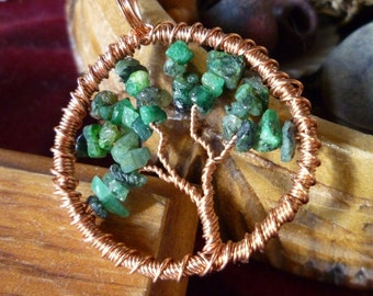 Tree of Life Pendant - Emerald with Copper Wire