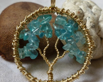 Tree of Life Pendant - Apatite with 12Kt Gold Wire
