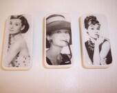 Set of 3 Vintage Image Audrey Hepburn Domino Magnets