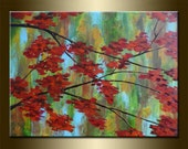 """ORIGINAL LANDSCAPE with TREE , abstract painting ,acrylic on canvas 23,6"""" x 31,5"""" x 0,7"""" in inches,with certificate of authenticity"""
