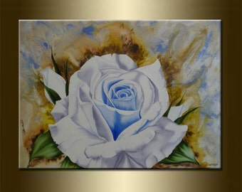 """Watercolor Art Modern Art original abstract PAINTING with FLOWERS acrylic and oil on canvas Art 23,6"""" x 31,5"""" x 0,7"""" Huge Size Blue Brown"""