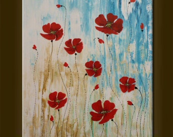 """ORIGINAL abstract painting WITH FLOWERS Abstract Picture Modern Art Contemporary Art acrylic on canvas 23,6"""" x 19,7"""" x 0.7"""" Red Blue White"""