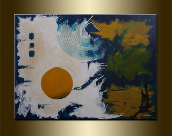 "ORIGINAL abstract PAINTING Modern Art Watercolor Art Modern Abstract acrylic on canvas 23,6"" x 31,5"" x 0,7"" HUGE Size Blue Brown White"