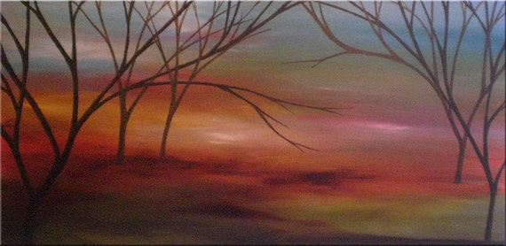ORIGINAL abstract LANDSCAPE PAINTING WITH TREES,MODERN Art 15,8x31,5 x 1.0 in inches,with certificate of authenticity
