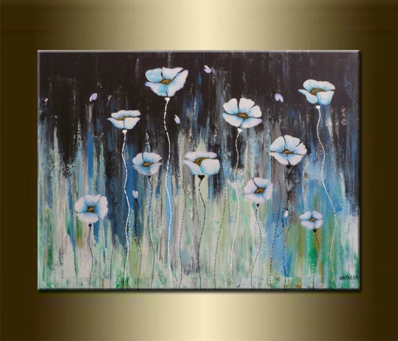 "ORIGINAL abstract PAINTING with FLOWERS ,acrylic on canvas 23,6"" x 31,5"" x 0,7"" in inches,with certificate of authenticity"