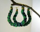 Teal and Blue Hoop Earrings - Grecian style -  Awia