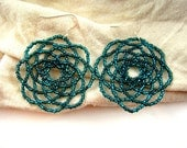 Round Flower Earrings, Sparkly Teal, 5.5cm diameter - Peony