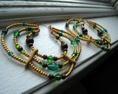 Large Gold, Blue, Green and Brown Beaded Hoop Earrings - Paradise