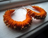 Orange Thread Wrapped Hoop Earrings with Gold Beads