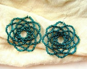 Round Sparkly Teal Flower Earrings, 4.5cm - Peony