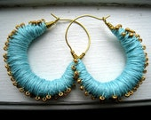 Turquoise Thread Wrapped Hoop Earrings with Gold Beads