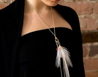 White Feather Necklace. Delicate White and Cream Feathers. Bridal Gold and White Long Necklace. Precious Cloud