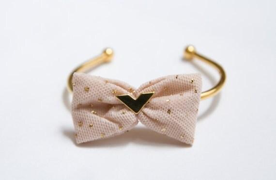 Pastel Spring Fashion - Summer Fashion - Bow Bracelet. Gold Pecked Black or Blush Pink Tulle