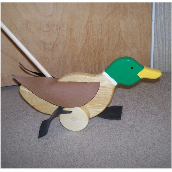 HI, I am a duck. A cute mallard duck push toy