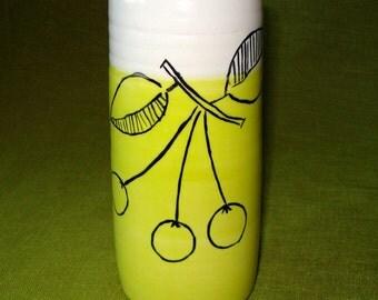Handmade Pottery - Flower Vase - Yellow with Painted Cherries