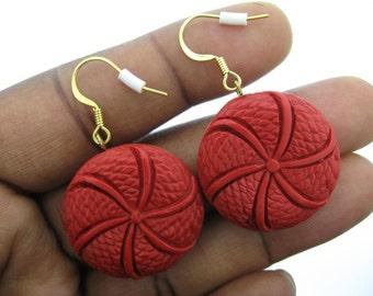 Red Cinnabar Disk Earrings
