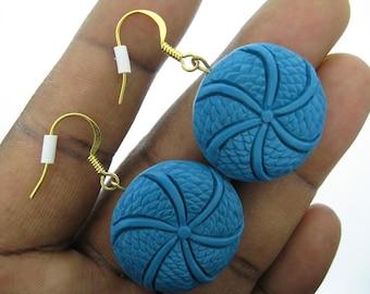 Blue Cinnabar Disk Earrings