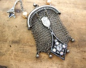 Redcued Price   Vintage Chatelaine Purse Tiny Coin Bag Metal Mesh Found in Paris Necklace Altered