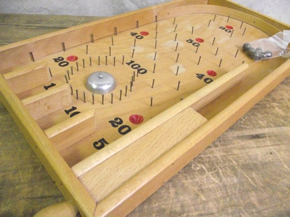 Reduced Old Wooden Pinball game with metal balls
