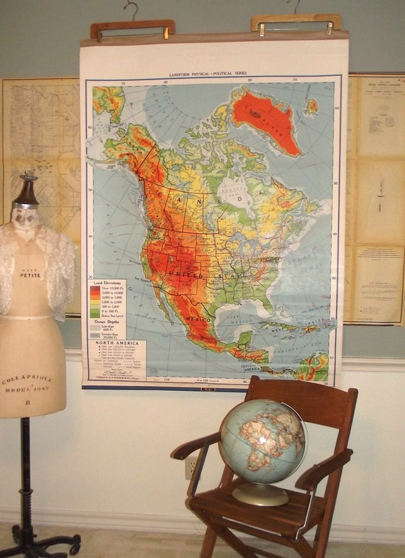 Vintage Pull Down School Map of North America united States Canada Nystrom 1950s