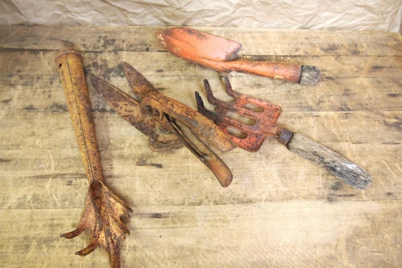 Reduced Lot of 4 vintage garden tools rusty and fabulous colors orange yellow