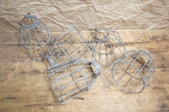 Reserved 24 hrs for tim holtz  Wonderful Vintage industrial metal trouble light cage Choice of One Urban loft hardware for restoration
