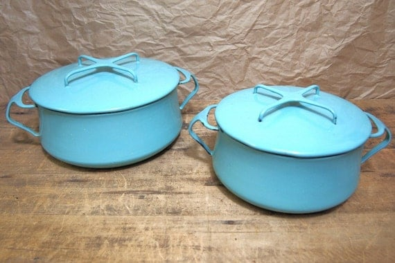 Reserved for  Posiesforlulu Raina Scott  Set of 2 Retro Vintage Dansk Danish Modern Enamel Pots Turquoise Blue mid century