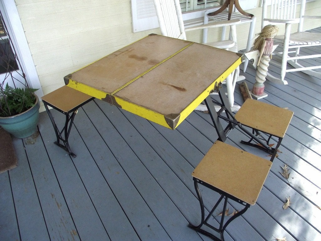 Vintage Folding Table Amp Chair Set By Handy Company Picnic