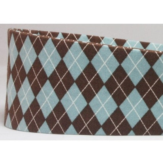 Fashion Headband - Blue & Chocolate Brown Argyle Print